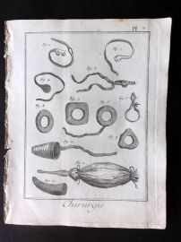 Diderot 1780's Antique Medical Print. Chirurgie 07 Surgical Instruments